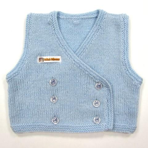 Gilet cache coeur tricot bleu ciel naissance garçon