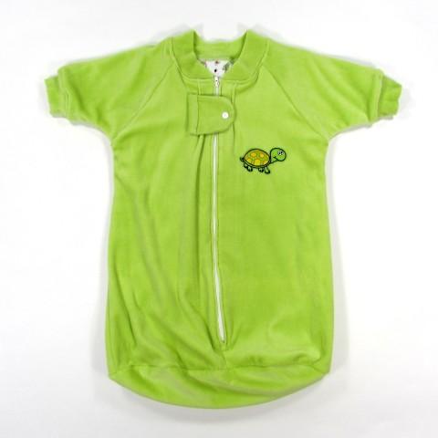 Turbulette à manches longues velours vert pomme naissance bébé garçon