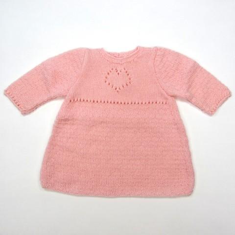 Robe bébé fille 1 mois en laine rose dragée