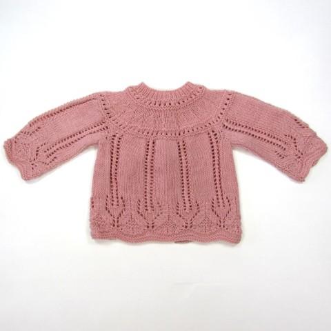 Brassière bébé fille 1 mois tricot rose ajouré