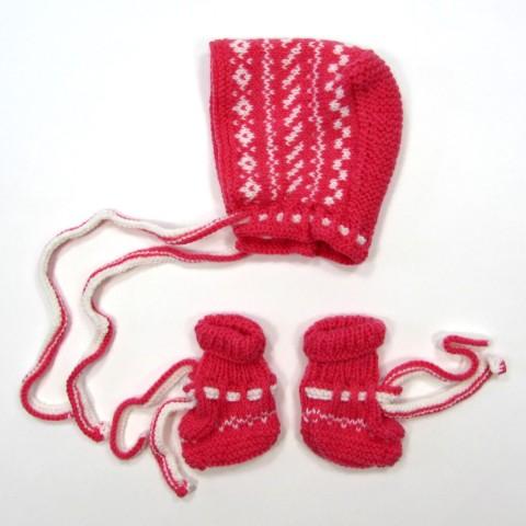 Béguin et chaussons bébé fille 1 mois hiver