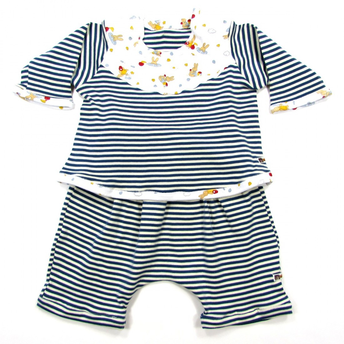 368f0ce141f24 Vêtement bébé garçon original en maille rayée naturel et bleu 1 mois