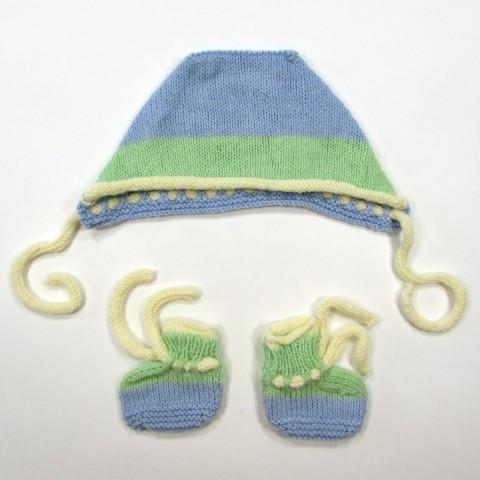Béguin et chaussons tricot 1 mois bébé garçon