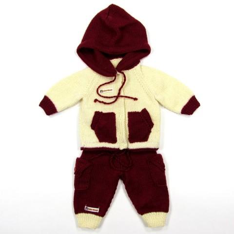 jogging en tricot grenat et naturel bébé garçon