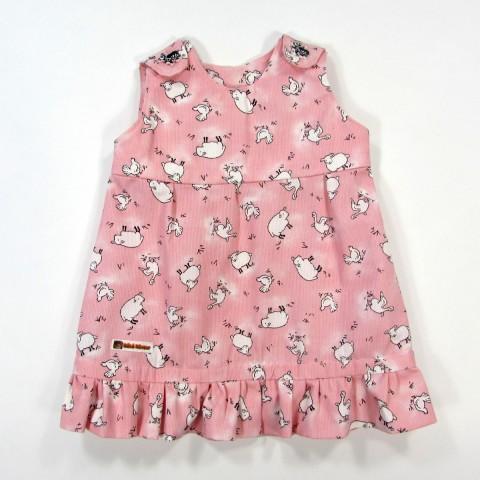 Robe chasuble en coton rose imprimé 1 mois bébé fille