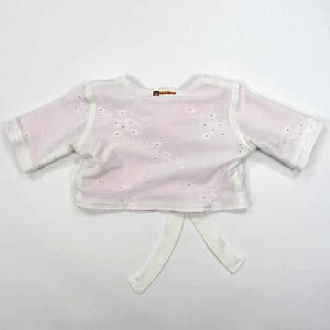 Cardigan bébé fille automne dessus maille rebrodée dessous interlock rose