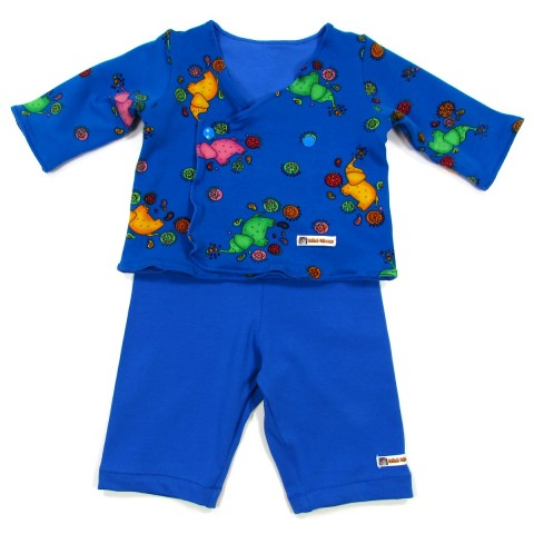 Ensemble bébé garçon automne en jersey bleu roi imprimé éléphants