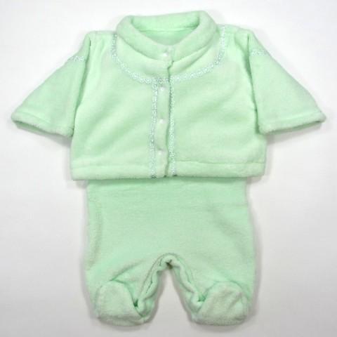 Ensemble paletot et combinaison vert pâle en peluche bébé fille ou garçon