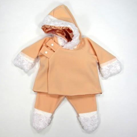 Veste à capuche et pantalon à pieds bébé fille automne