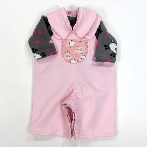 Salopette rose et brassière polaire imprimé mouton pour bébé fille3 mois