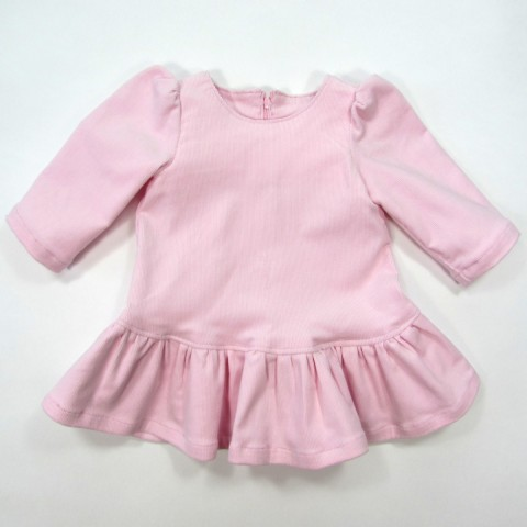 Robe bébé fille 3 mois en velours milleraies rose clair et manches longues