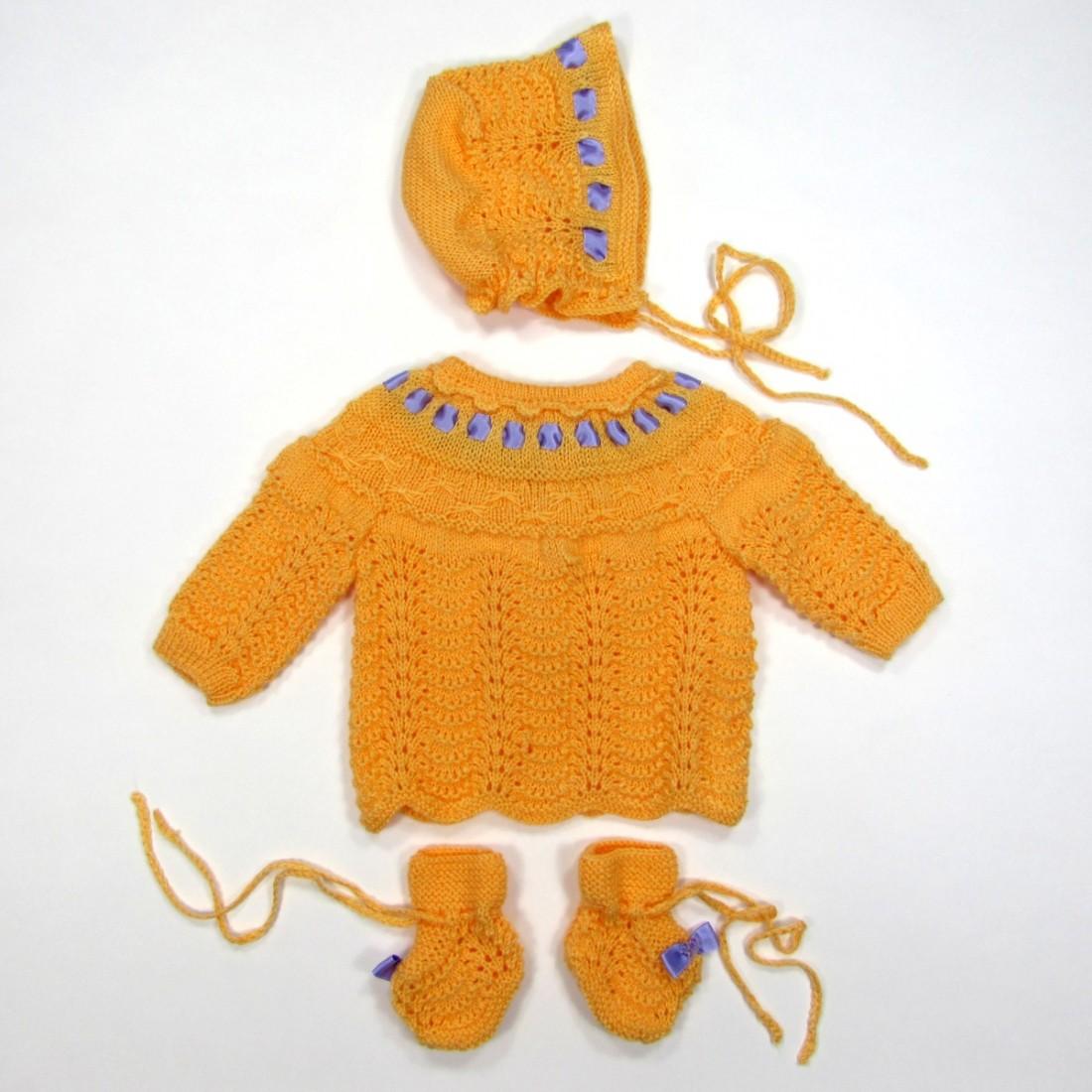 Layette d'antan pour bébé fille 3 mois laine abricot ruban lilas