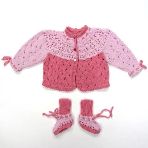 Brassière et chaussons duo de rose bébé fille 3 mois