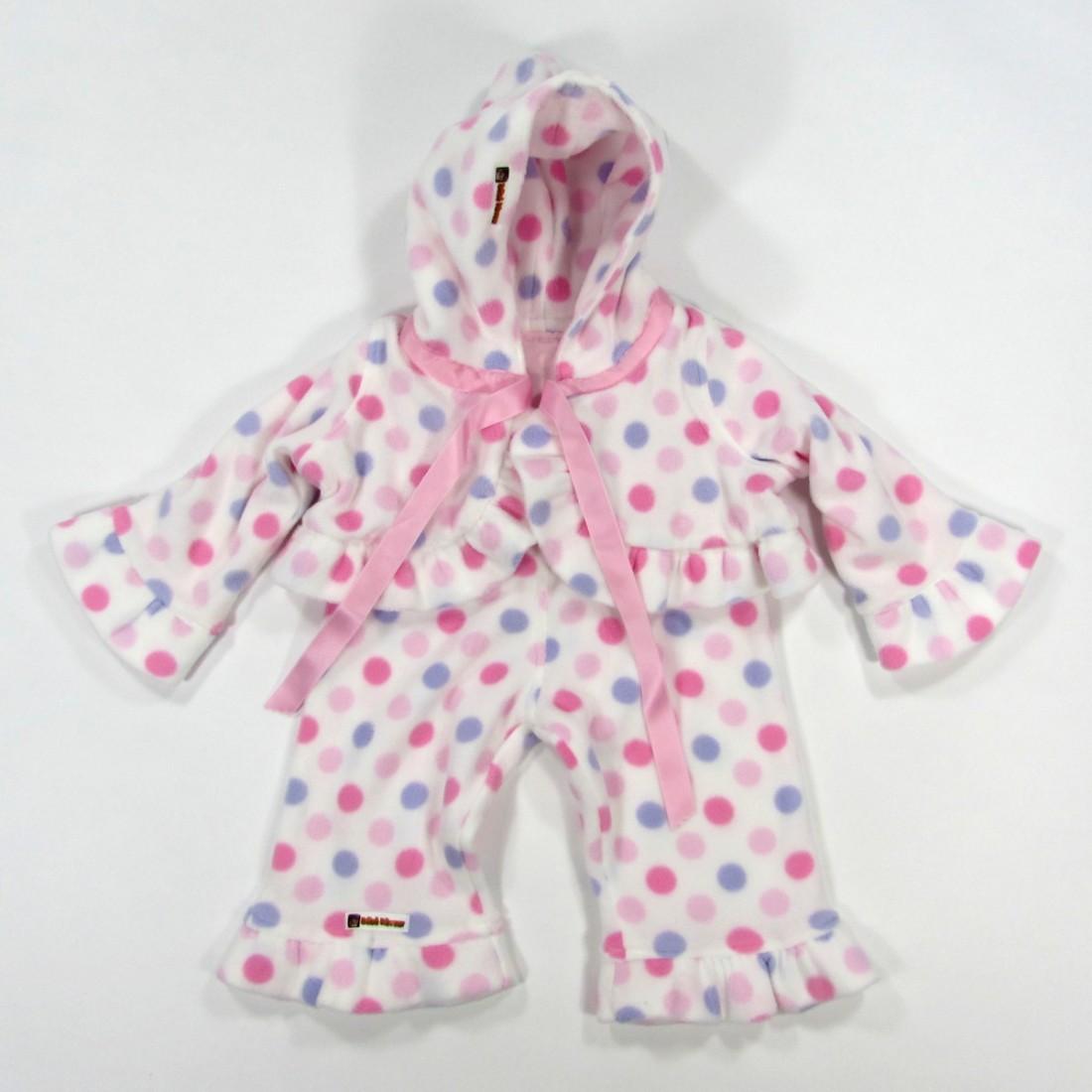 Paletot et pantalon bébé fille en polaire blanc imprimé pastilles roses et mauves