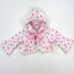 Paletot bébé fille 3 mois en polaire doublé jersey rose poudre