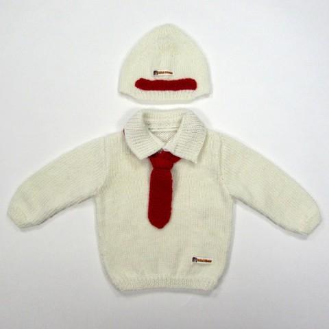 Pull blanc col polo et cravate rouge avec bonnet bébé garçon 6 mois