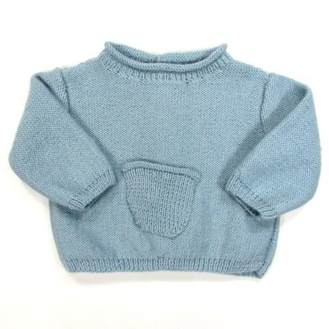 Brassière fine bébé garçon en laine chaude pour l'hiver, poche milieu devant, encolure roulottée