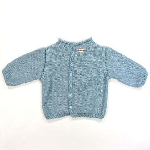 Brassière bébé garçon bleu ciel hiver, fermée par boutons 2 trous assortis
