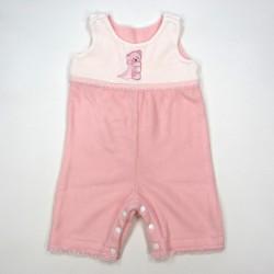 Combinaison bébé fille hiver rose dragée et blanc avec application devant