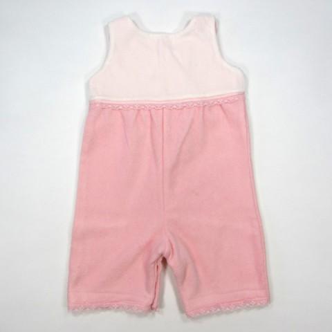 Combinaison polaire rose dragée et velours blanc bébé fille 3 mois