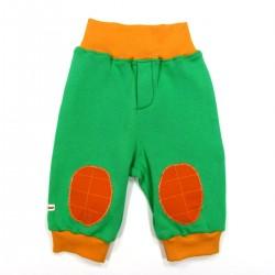 Pantalon forme jogging avec genouillères vert et orange bébé garçon