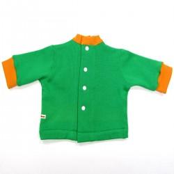Dos de la brassière fermé par boutons pression blanc bord côtes orange à l'encolure et aux poignets bébé garçon