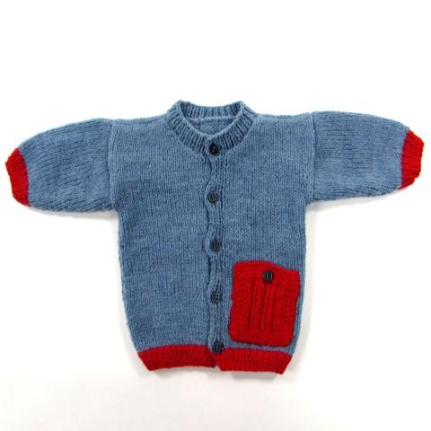 Cardigan tricot bleu jean et rouge tomate pour bébé garçon naissance