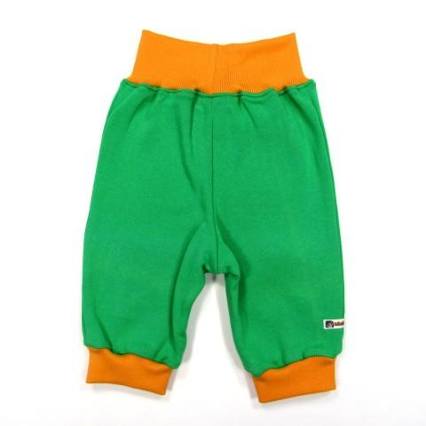 Dos de pantalon jogger bébé garçon large ceinture et cheville en bord côtes tricot orange
