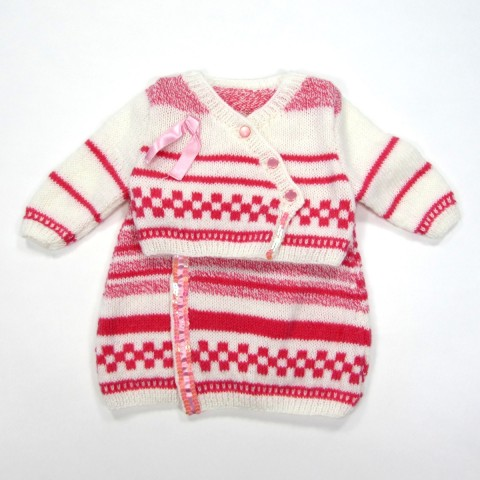 Robe et cache coeur en laine bébé fille 3 mois