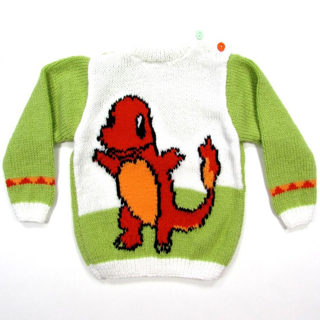 268d1f39ed2df Pull tricot laine vert amande bébé garçon 24 mois avec un dinosaure