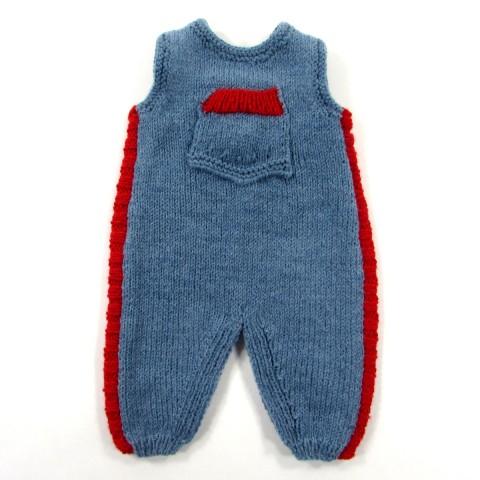 Salopette bébé garçon naissance en tricot bleu jean et rouge tomate