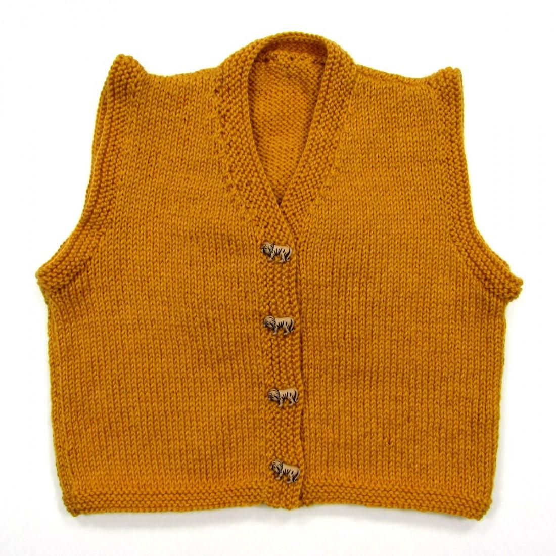 Gilet sans manches jaune curry en tricot pour bébé garçon 2 ans