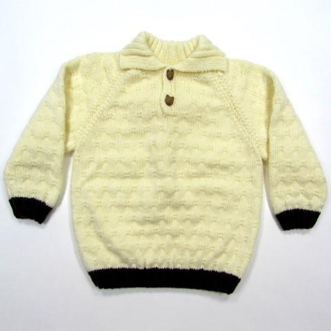Pull over ivoire avec col polo pour bébé garçon de 24 mois bordures en côtes chocolat