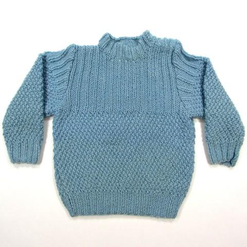 Pull bébé garçon en pure laine bleu glacier pour l'hiver taille 24 mois