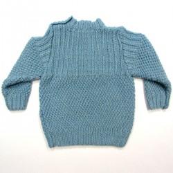 Pull vu de dos 100% pure laine boutonné sur l'épaule pour bébé garçon 2 ans