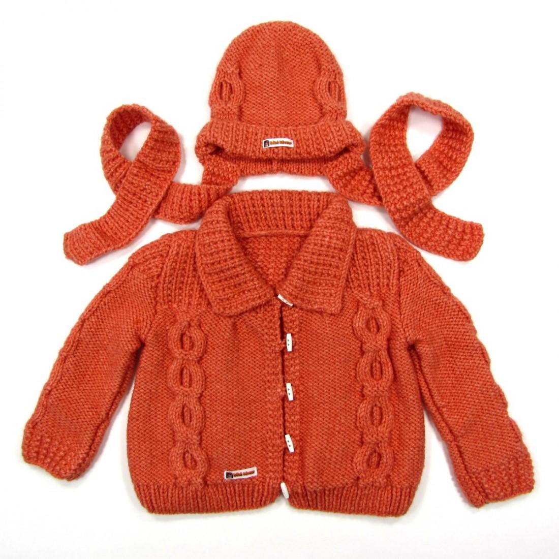 Veste et bonnet bébé fille 24 mois en point fantaisie et torsade pour l'automne