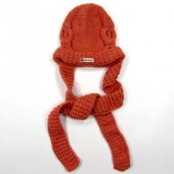 Bonnet écharpe coordonné à la veste longs pans de 60 cm à nouer autour du cou pour bébé fille 24 mois