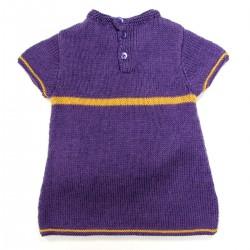 tunique dos fermeture par 3 boutons violet assortis bébé fille 24 mois