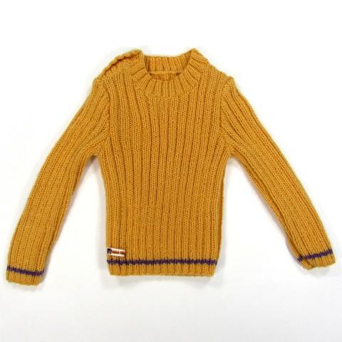 Pull chaussette en laine jaune curry bébé fille 2 ans boutonné sur l'épaule