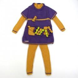 Vue de l'ensemble complet fille 2 ans pull caleçon et tunique à bonbons vendue séparément