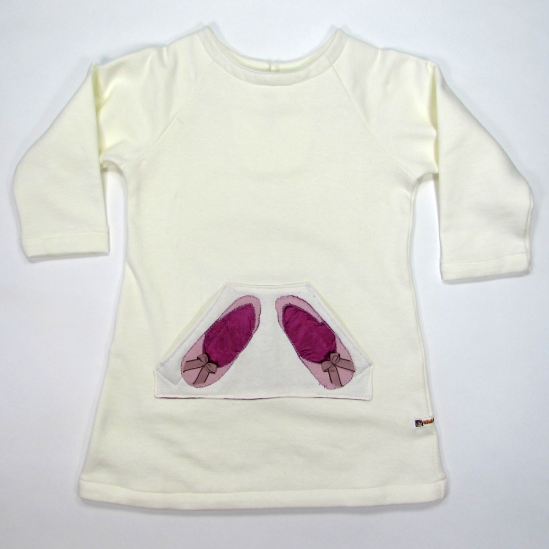 Robe pull en sweat shirt fillette 2 ans avec ballerines sur la poche