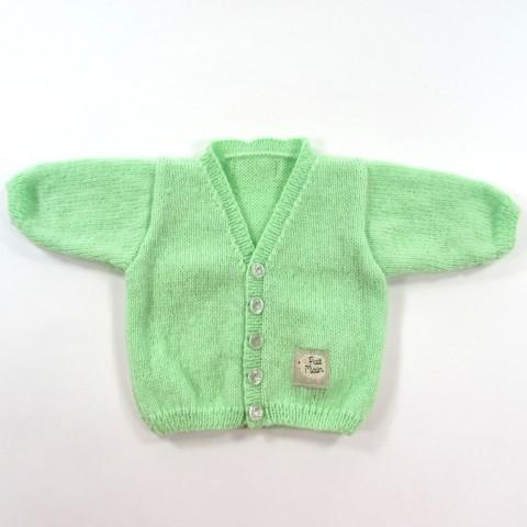 Gilet vert pastel en laine pour bébé garçon naissance