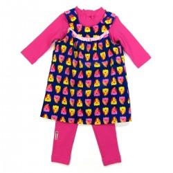Robe velours tee shirt et legging rose fuchsia bébé fille 24 mois
