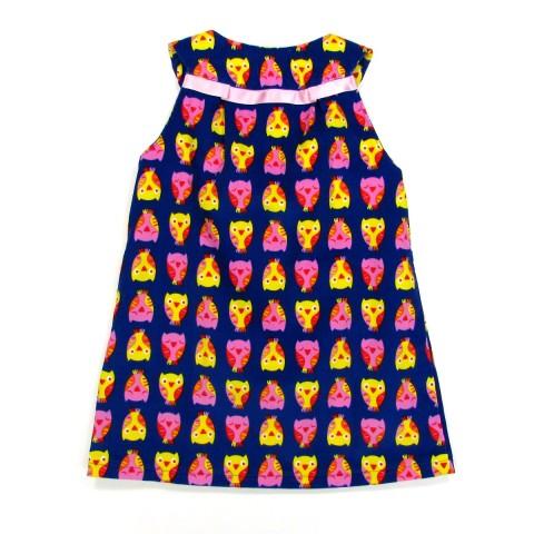 Robe de dos imprimé chouettes multicolores bébé fille 2 ans