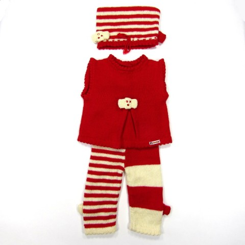 Débardeur bonnet legging rouge bébé fille