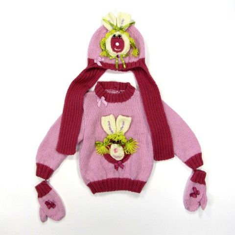 Ensemble rose tricot lapin bébé fille