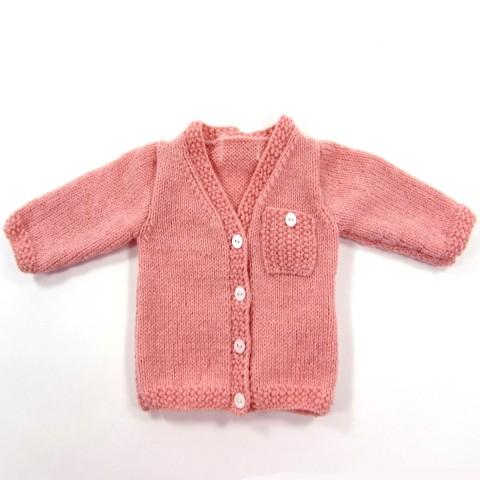 Gilet tricot rose poudre pour bébé fille prématurée
