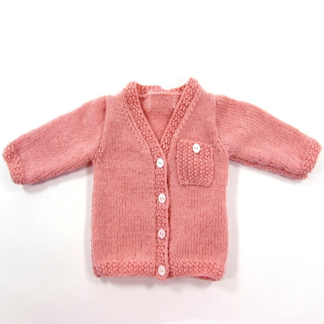 eccc5033440c Gilet bébé fille prématurée au tricot rose poudre printemps