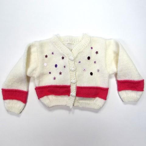 Cardigan blanc et fuchsia avec paillettes bébé fille hiver