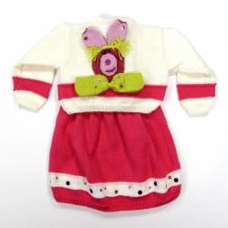 Ensemble blanc et rose lapin noeud papillon de dos bébé fille